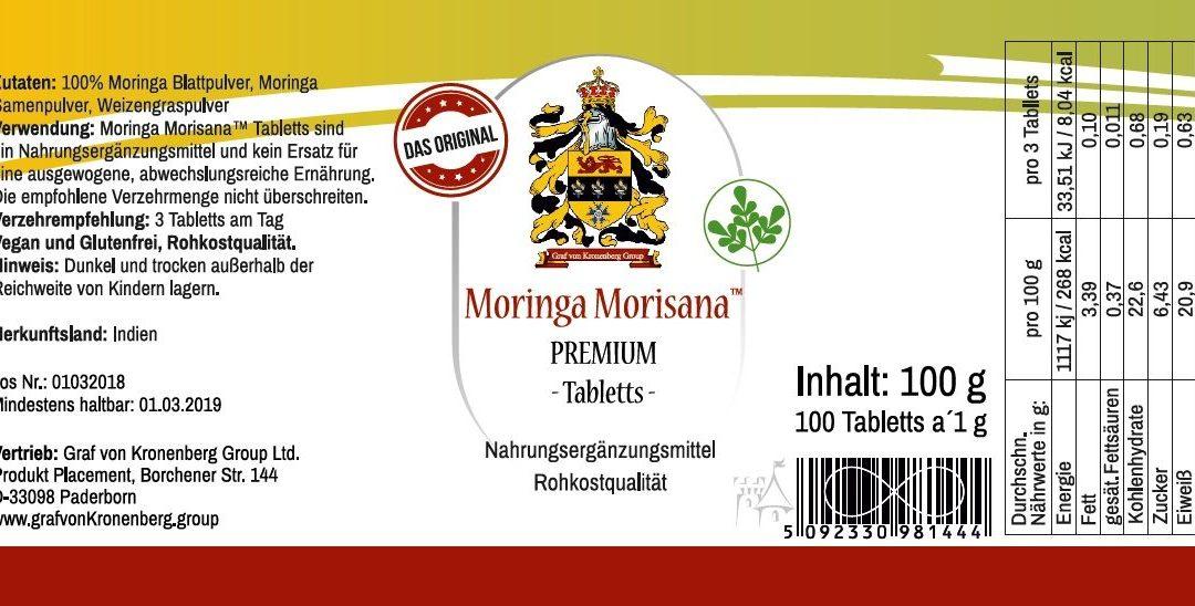 Moringa Morisana (TM) Premium Presslinge – eine neue, einzigartige, nährstoffreiche und hochwirksame Rezeptur aus Moringablättern, Moringasamen sowie Weizengraspulver.